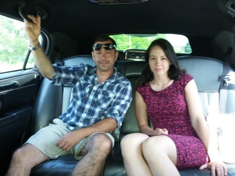 Josh and Nicole in the limousine