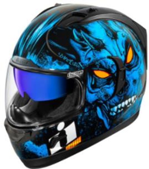 icon blue horror motorcycle helmet