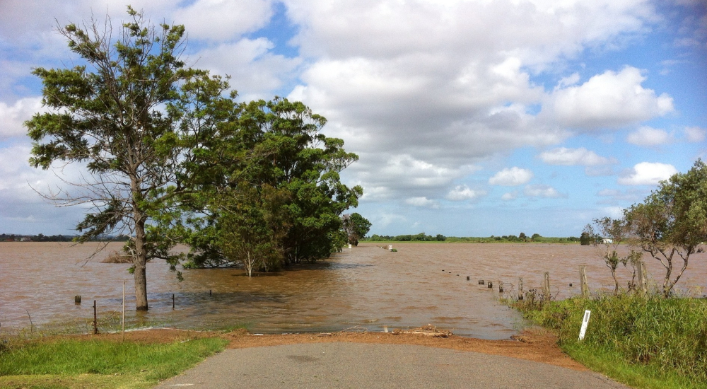 flooded field covering road image