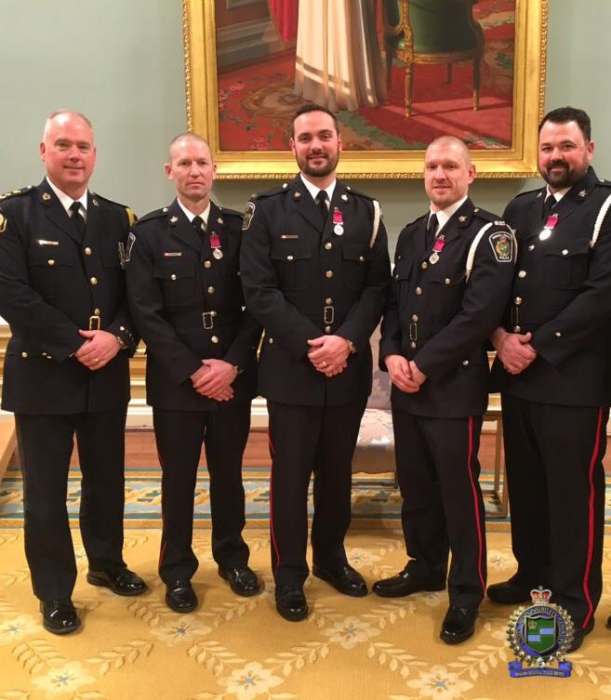 Left to Right: Chief Bryan MacCulloch, Cst. Neal Ridley, Cst. Allan Rivet, Cst. Jake Braun, Cst. Dan Bassi