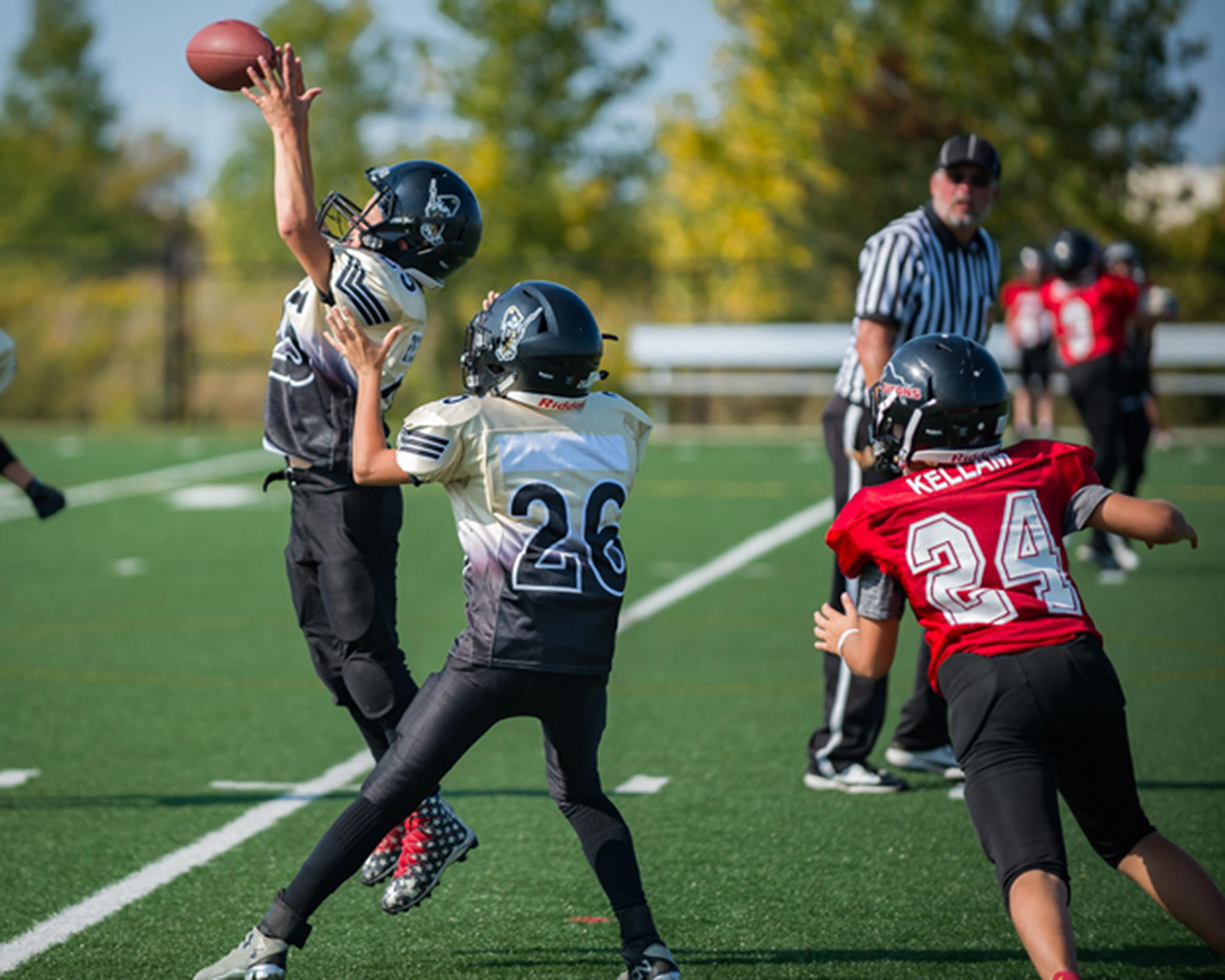 Niagara Generals' Patrick Scully intercepts a pass in OFL peewee football action